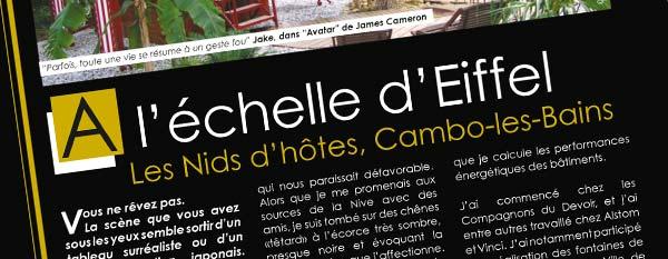 Article de la revue Immobilier Exceptionnel sur l'arbre aux oiseaux de Cambo