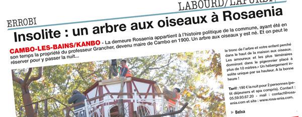 Article de La semaine du Pays Basque sur l'arbre aux oiseaux de Cambo